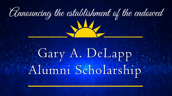 decorative image of deLapp-scholar , Announcing the establishment of the endowed Gary A. DeLapp Alumni Scholarship 2019-05-08 13:53:35
