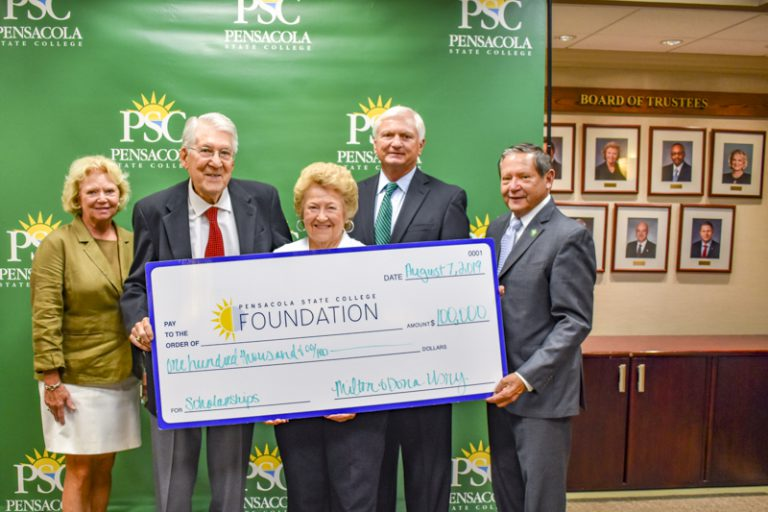 decorative image of PSC-Usry-donation-edited-small- , Dona and Milton Usry donate $100,000 to Pensacola State College  for scholarships 2019-08-07 11:21:31